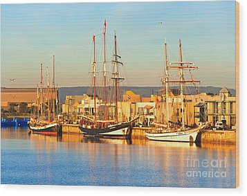 Dutch Tall Ships Docked Wood Print by Bill  Robinson