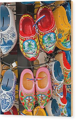 Dutch Wooden Shoes Wood Print by Dennis Cox WorldViews