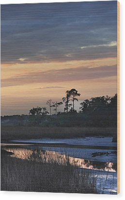 Dutton Island At Dusk Wood Print by Phyllis Peterson