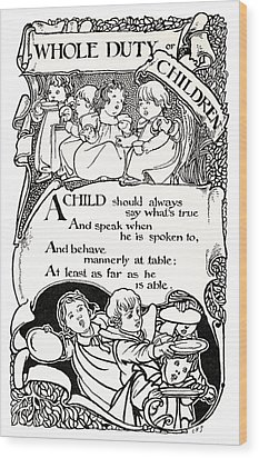 Duty Of Children  1895 Wood Print by Daniel Hagerman
