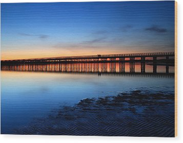 Duxbury Beach Powder Point Bridge Twilight Wood Print by John Burk