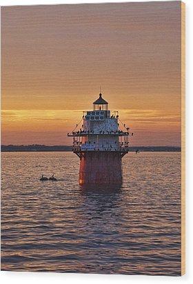 Duxbury Pier Light At Sunset Wood Print