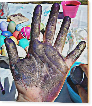Dyed Hand Wood Print by Heidi Manly