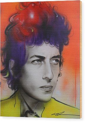 Bob Dylan - ' Dylan ' Wood Print by Christian Chapman Art