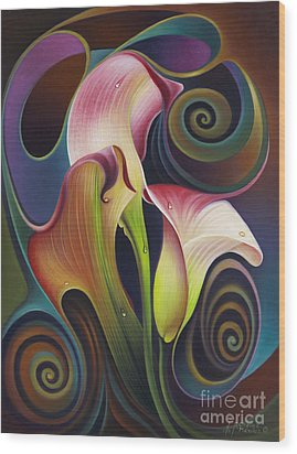 Dynamic Floral 4 Cala Lillies Wood Print