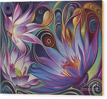 Dynamic Floral Fantasy Wood Print