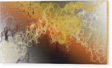 Dynamic Scribbles Wood Print by Constance Krejci