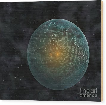 Dyson Sphere Wood Print by Lynette Cook