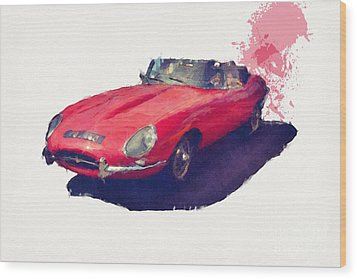 E Type Wood Print by Roger Lighterness