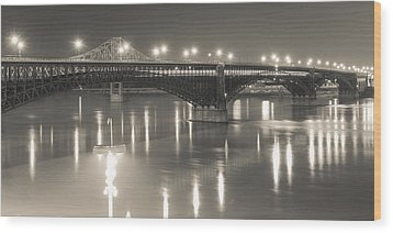 Wood Print featuring the photograph Eads Bridge And Train by Scott Rackers