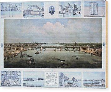 Eads Bridge Drawings Wood Print