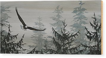 Eagle And Cedars Wood Print by James Williamson
