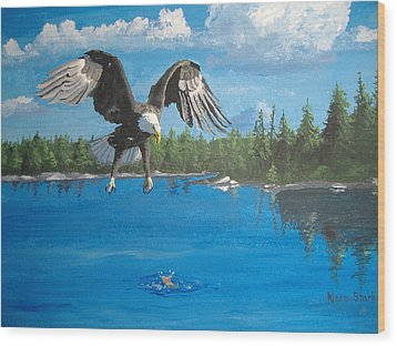 Eagle Attack Wood Print by Norm Starks