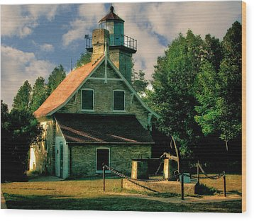 Eagle Bluff Light 2.0 Wood Print by Michelle Calkins