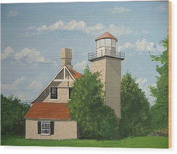 Wood Print featuring the painting Eagle Bluff Lighthouse Wisconsin by Norm Starks