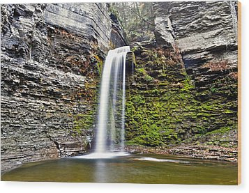Eagle Cliff Falls Wood Print by Frozen in Time Fine Art Photography