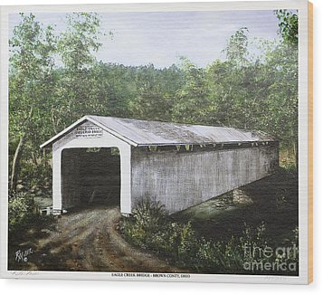 Eagle Creek Covered Bridge Brown County Ohio Wood Print by Rita Miller