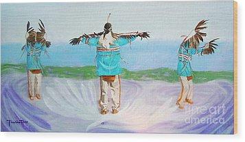 Eagle Dance Wood Print by Pauline Ross