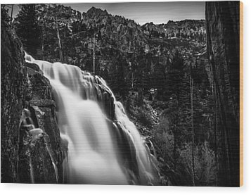 Eagle Falls Black And White Wood Print by Scott McGuire