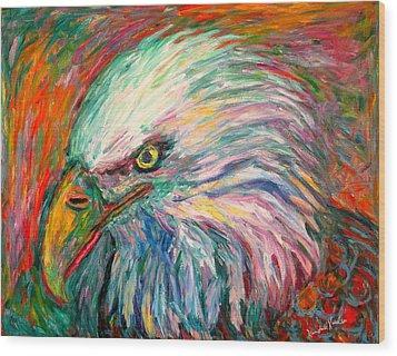 Eagle Fire Wood Print by Kendall Kessler