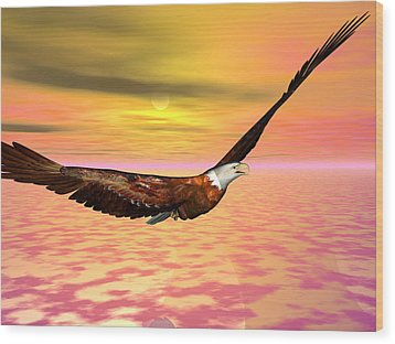 Eagle Flight Wood Print by Michele Wilson