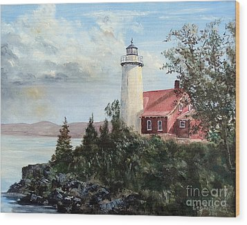 Wood Print featuring the painting Eagle Harbor Light by Lee Piper