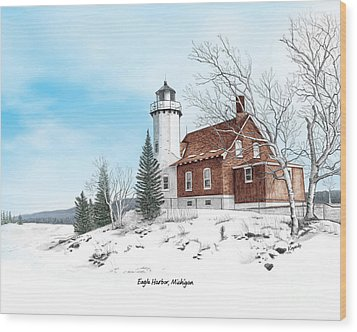 Eagle Harbor Lighthouse Titled Wood Print by Darren Kopecky