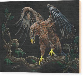 Eagle In Darkness Wood Print by Heather Bradley