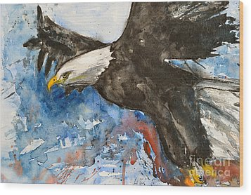 Wood Print featuring the painting Eagle In Flight by Ismeta Gruenwald