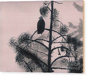 Wood Print featuring the drawing Eagle In Pink Sky by D Hackett
