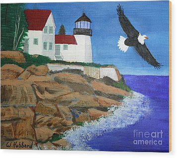 Eagle Isle Light In Casco Bay Maine Wood Print by Bill Hubbard