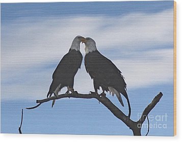Eagle Love Wood Print by Bob Hislop