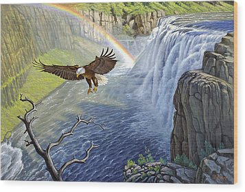 Eagle-mesa Falls Wood Print by Paul Krapf