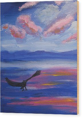 Wood Print featuring the painting Eagle  On Lake by Diana Riukas