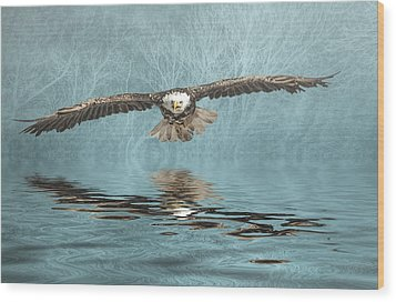 Wood Print featuring the photograph Eagle On Misty Lake by Brian Tarr