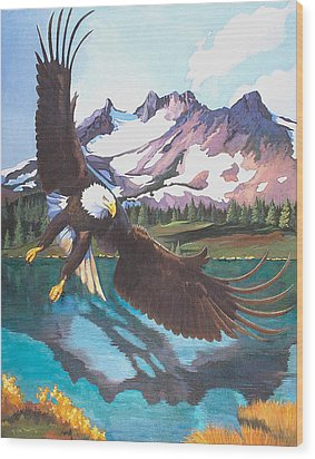 Eagle Oregon Lake Wood Print