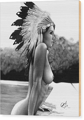 Eagle Wood Print by Pete Tapang