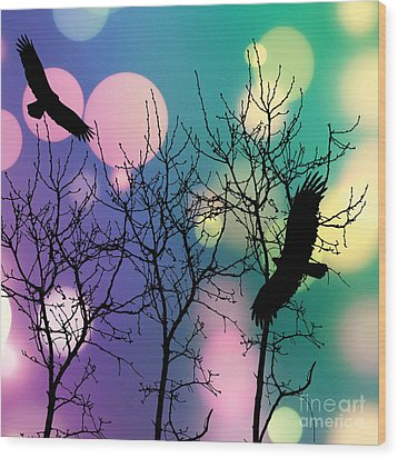 Wood Print featuring the digital art Eagle Rebirth Light by Kim Prowse