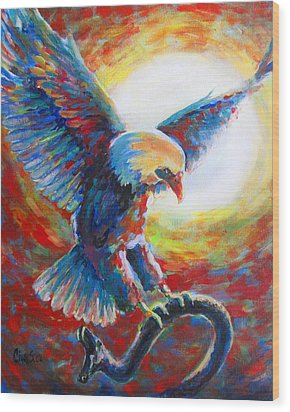 Eagle Takes Charge Wood Print by Tamer and Cindy Elsharouni
