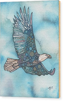 Wood Print featuring the painting Eagle by Tamara Phillips