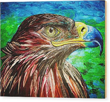 Wood Print featuring the painting Eagle by Viktor Lazarev