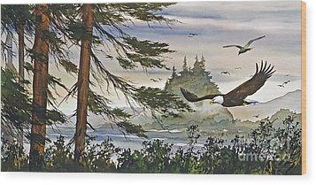 Eagles Majestic Flight Wood Print by James Williamson