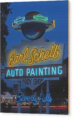 Earl Scheib Neon Bev Hills-1 Wood Print by Barbara Filet