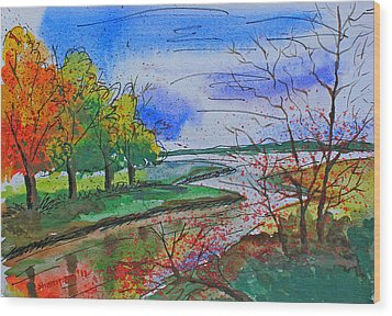 Early Autumn Landscape Wood Print by Shakhenabat Kasana