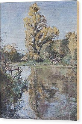 Early Autumn On The River Test Wood Print by Caroline Hervey-Bathurst