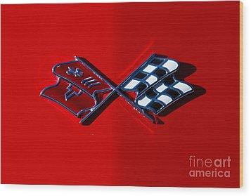 Early C3 Corvette Emblem Red Wood Print