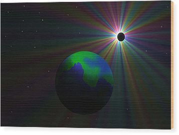 Early Earth Lunar Eclipse Wood Print by Ricky Haug