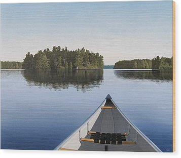 Wood Print featuring the painting Early Evening Paddle  by Kenneth M  Kirsch