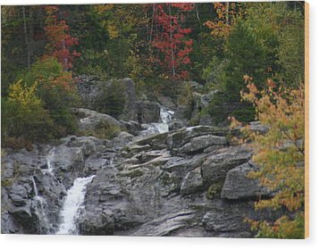 Early Fall Waterfall Wood Print by Denyse Duhaime