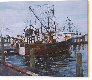 Wood Print featuring the painting Early Harbor Morning by Noe Peralez